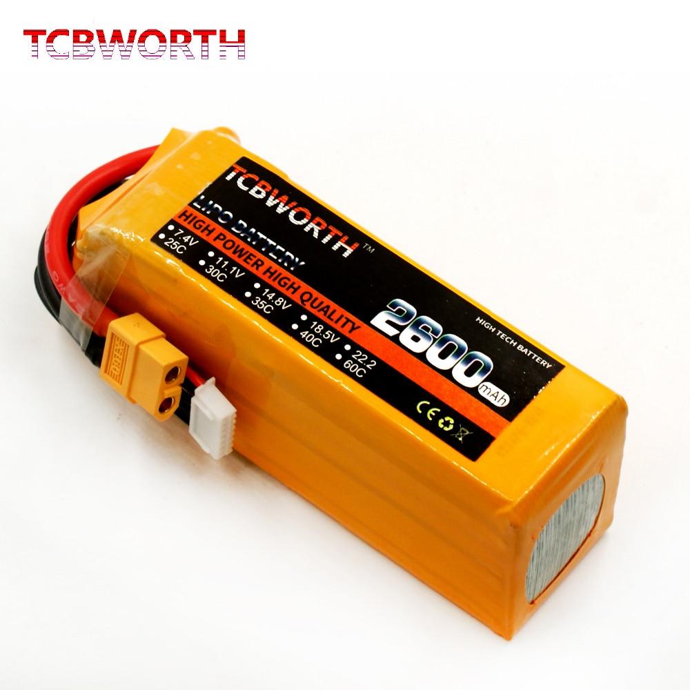 TCBWORTH RC LiPo batteria 22.2 V 2600 mAh 30C 6 S Per RC Aereo Drone Auto A Distanza Modello di Controllo Batterie liPo 2600 mAh 6 S