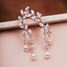 2016 New Fashion Gold Silver Crystal Zircon Leaves Tassel Ear Stud Earrings Jewelry