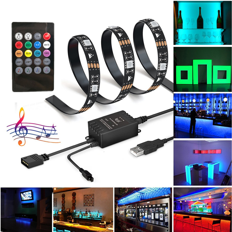 LED Strip Lights To Music 5V 2M USB Powered Light Strip 5050 60LEDS RGB Light Color Changing with Music Kit with IR Controller mini wifi rgb strip light controller with music control and voice control compatible with google home