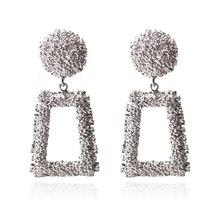 Ztech Big Geometric Pendants Golden & Silver Colors Drop Earrings For Women Metal Statement Earrings Brincos Jewelry Oorbellen