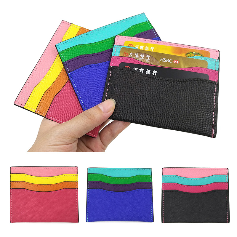 Fashion Candy Color Card Wallet Women Slim Multi Cards Bag Cow Leather Simple Cute Small ...
