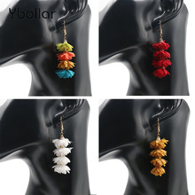 Fashion Women Cute Flower Layered Earrings Tiered 7cm Long Drop Dangle Earrings Jewelry Party Wedding Gift