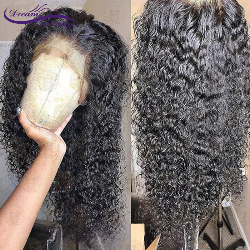 Dream Beauty Lace Front Human Hair Wigs For Women 130% Density Peruvian Remy Curly Lace Wigs With Baby Hair Bleached Knots