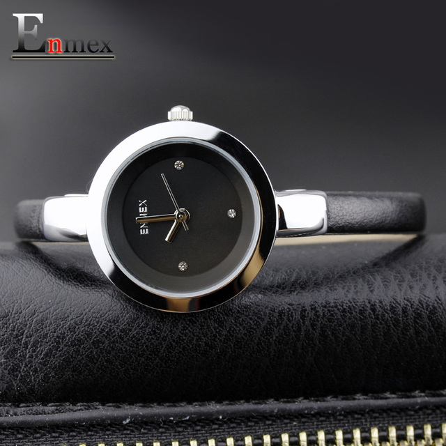 2017 Memorial  gift Enmex women creative slim strap watch golden white graceful young girl elegant fashion quartz lady watches
