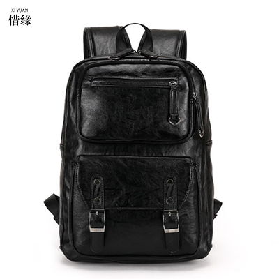Fashion male Genuine Leather laptop Backpacks High Quality F