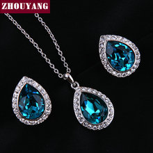 ZYS276 Luxurious Water Drop Blue Crystal  Platinum Plated Jewelry Necklace Earring Set Rhinestone Made with Austrian Crystals