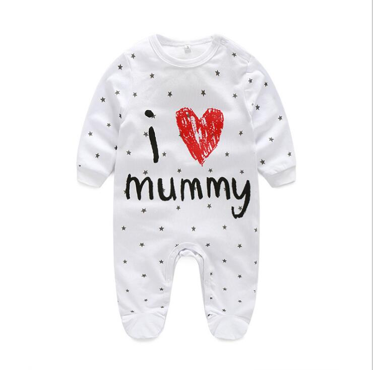 new long sleeved package foot baby romper round neck cotton newborn conjoined spring and autumn children 39 s clothes baby clothes in Footies from Mother amp Kids