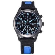 Holuns alta calidad azul fresco hombres de cuarzo reloj de pulsera fecha detener Pantalla del reloj Dial Redondo Band Lienzo Moda Deporte de Hombres Reloj regalo