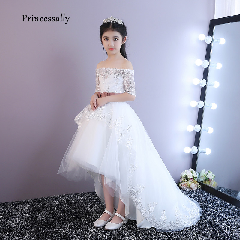 High Low Flower Girl Dresses Boat Neck Half Sleeve Lace