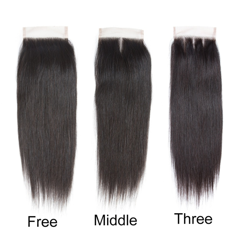 Amanda 4x4 Lace Closure Brazilian Straight Hair With Baby Hair 100% Remy Human Hair Free Part Middle Part Three Part 8-22 Inches