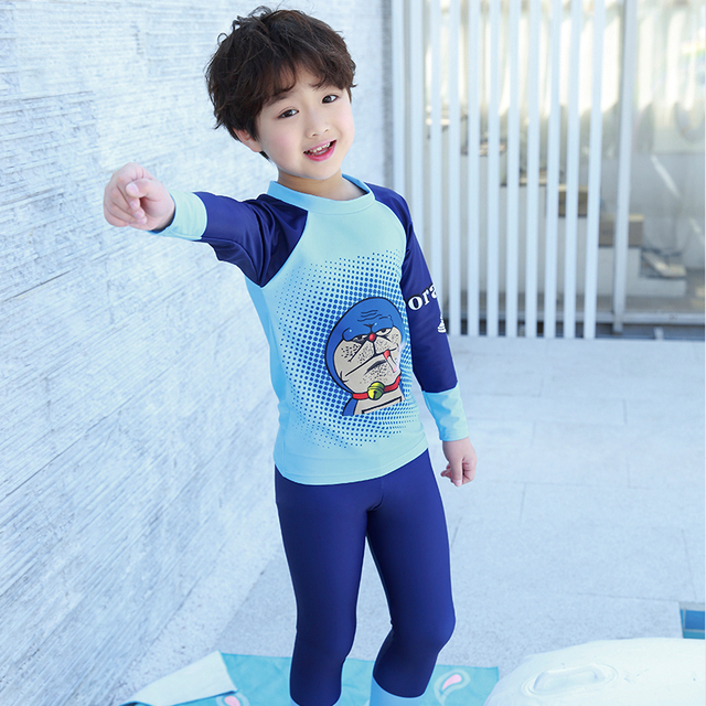 f9c13b76b3 New UPF50+ Long Kids Diving Swimming Suit Rash Guards Two Piece Swimsuit  For Girl Boy Cartoon Beach UV Sun protective Clothing