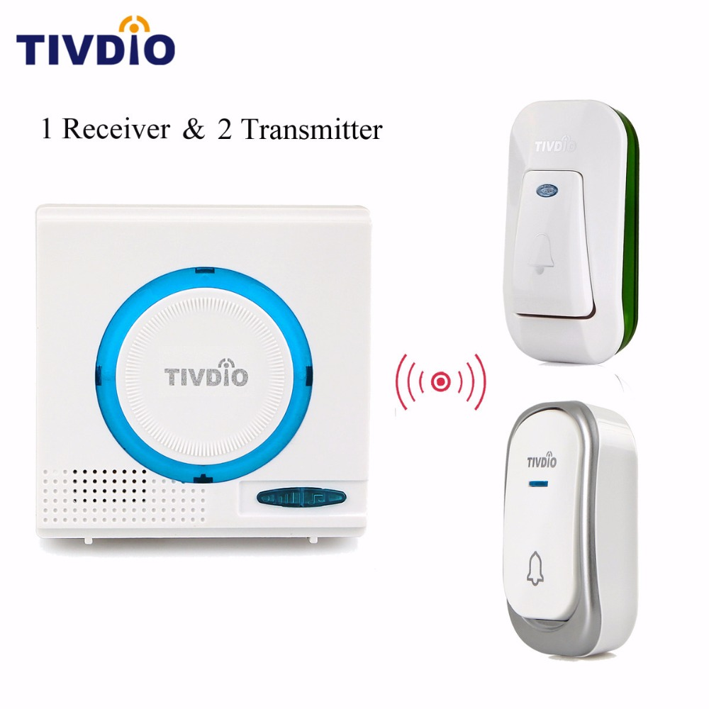 TIVDIO T-802 Wireless Doorbell Access Control Chime Kit Remote Button Waterproof Battery Blue 1 Receiver +2 Transmitter F9508 wireless home security door bell call button access control with 1pcs transmitter launcher 1pcs receiver waterproof f3310b