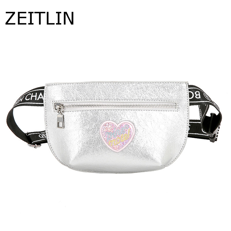 Heart shaped Pattern Waist Bag Women PU Leather Fanny Pack 2018 Fashion Female Mini Waist Belt Pouch Mobile phone bag bolsa KPST