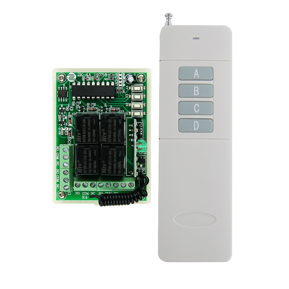 200-3000M Transmitter System DC 12V 10A 4CH Channel RF Wireless Relay Remote Control Switch 315MHZ/433MHZ new dc 12v 10a 4ch rf wireless relay remote control switch 315mhz 433mhz transmitter