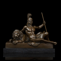 ATLIE Classical Tamers Bronze Sculpture Vintage Art Man and Tiger Bronze Statues Brass Figurine King of the Wind Business Gift