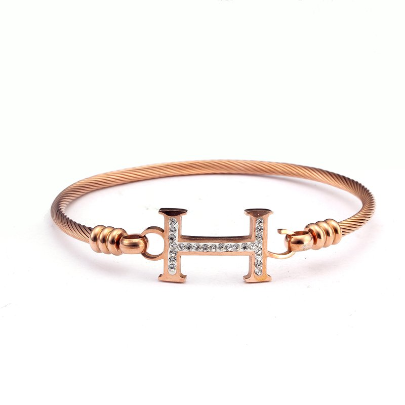 Brand Design Rose Gold Stainless Steel Charm Cross Bracelets H Word Braided Women Female ...