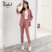 2019 Spring Autumn Winter New Women's Corduroy Blazer Two Piece Sets Notched Collar Casual Jacket Loose Female Clothing 8446