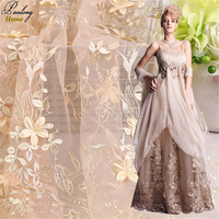 PanlongHome 1 Meter 100 Polyester Wedding Dress Stage Clothing 145cm Width High Density 3D Gold Embroidery