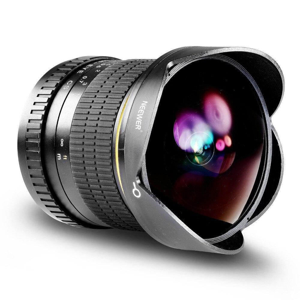 Neewer Pro 8 millimetri f/3.5 Asferico HD Fisheye Lens per Nikon DSLR 8-8 millimetri con Custodia Protettiva copriobiettivo Rimovibile Lens Hood + Borsa per il trasporto