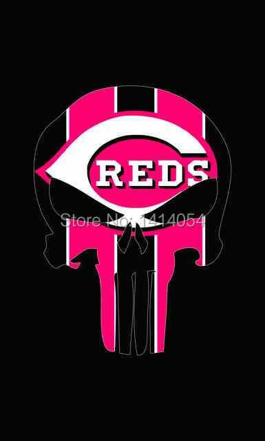 Cincinnati Reds skul flags MLB 3X5FT Banner 100D Polyester grommets custom .free shipping