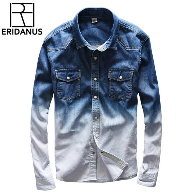 5d15f24a9d314 2017 New Brand gradient color jeans shirt men casual brand denim shirts men  cotton long shirt mens overhemd mannen homens X538