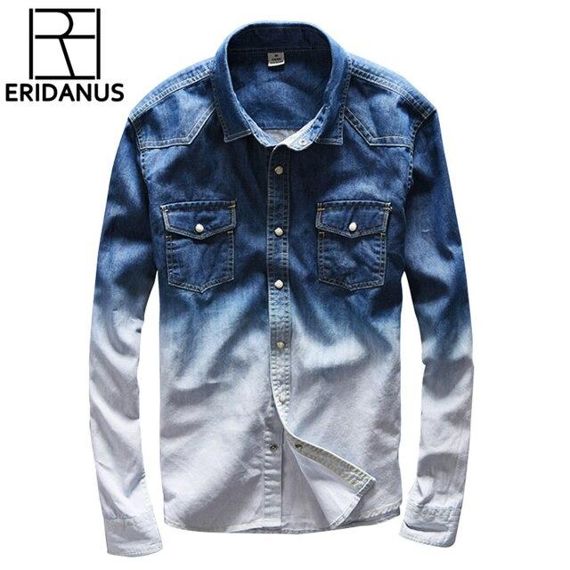 cd9df6e75b 2017 nuevo color del gradiente de la marca jeans camisa hombres marca  casual Denim shirts hombres