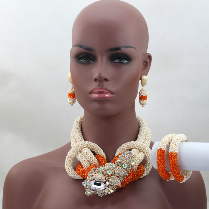 Costume African Jewelry Sets Nigerian Wedding African Beads Jewelry Set Orange Crystal Beads Jewelry Set Free Shipping HX565