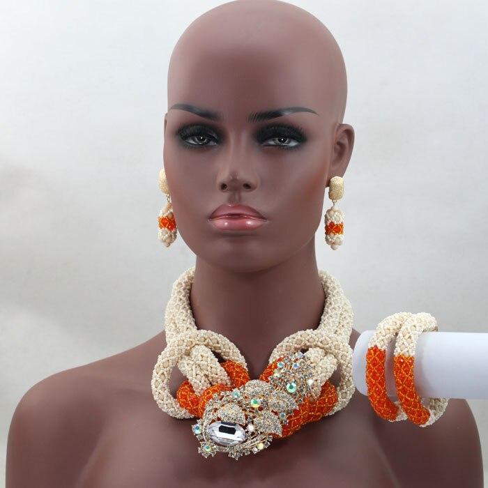 Costume bijoux africains ensembles mariage nigérian perles africaines ensemble de bijoux perles de cristal Orange ensemble de bijoux livraison gratuite HX565
