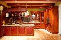 wooden kitchen cabinets cherry color(LH SW055)