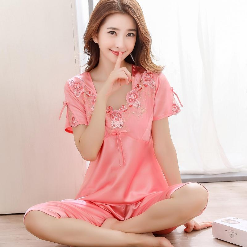 Summer short sleeved lady silk pajamas lace V-neck ice silk sleepwear thin sexy pyjama set flower decorated sweet clothing