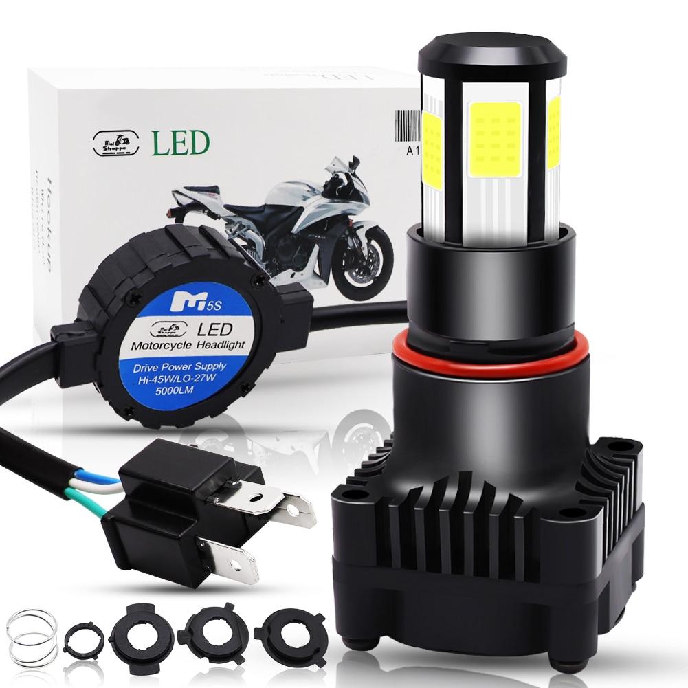 Motorcycle H4 LED Headlight Bulb Hi-Lo Beam 25W 5000LM COB Chip Motorbike Scooter Moto Universal Front Headlamp Driving Light