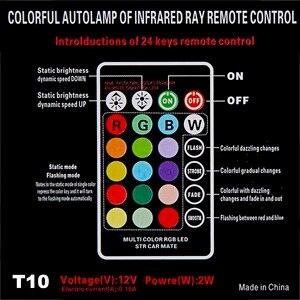 Image 2 - Universal T10 Led RGB W5W 194 lámpara de liquidación para coche RGB COB colorido Multi Mode Auto bombilla de luz de costado con control remoto