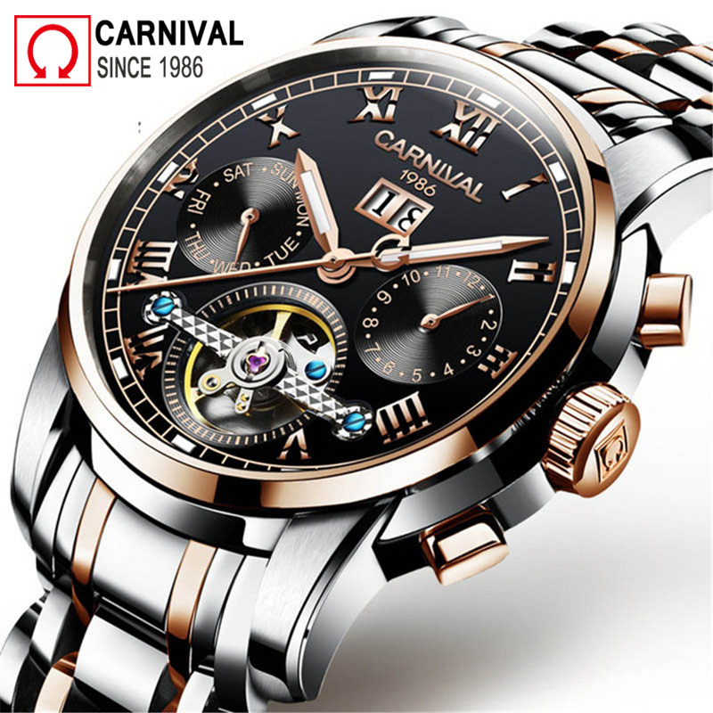 все цены на Carnival Tourbillon Automatic Watch Men Business Mens Mechanical Watches Top Brand Luxury Wristwatch Clock Relogio Masculino