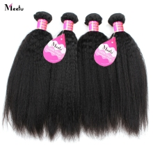 Meetu 4 Bundles Yaki Straight Hair Peruvian Hair Bundles 100% Human Hair Extensions Non Remy Hair For Black No Tangle