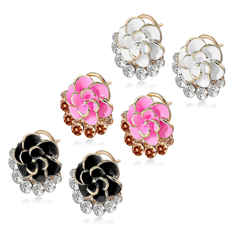 CINDIRY Zircon Crystal Decoration Rose Woman Earrings Crown Molding Earrings Girl Jewelry Brand Style