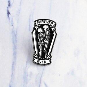 Love Dead эмалированная булавка, роза, кристалл, скелет, череп, нагрудный знак брошь, джинсовая рубашка, сумка, готика, Forever Love, ювелирные изделия, ...