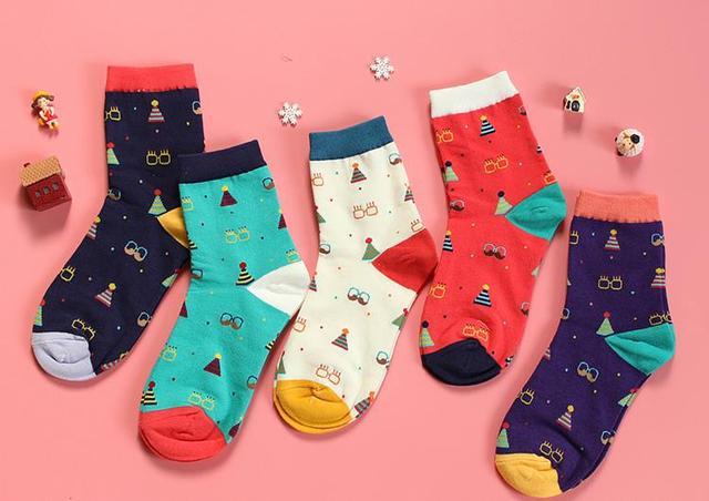OtherLinks 3pcs/set Cartoon Print Cotton Socks Women Creative Print Casual Socks 2017: Lion, Red Glass&Hat, White Glass&Hat