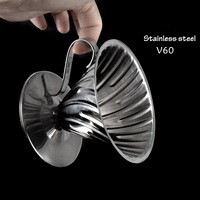 FeiC 1pc Stainless steel coffee dripper hario style V60 1 4cups for barista