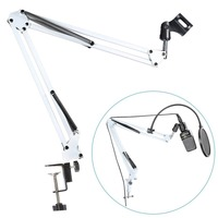 NEEWER White Broadcasting Studio Microphone Suspension Boom Scissor Arm Stand Extended Up To 80cm 31 5