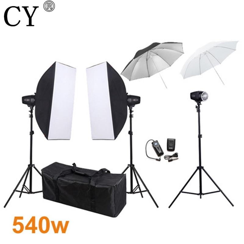 CY Photography Studio Softbox Flash Lighting Kits 540w Storbe Light Lightbox Stand Set Photo Studio Accessories Godox K-180A
