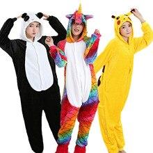 Купить с кэшбэком Animal Pajamas For Adult Unicorn Pikachu Panda Stitch Pegasus Cartoon Cosplay Flannel Hooded Unisex Pijamas Costume Onesies
