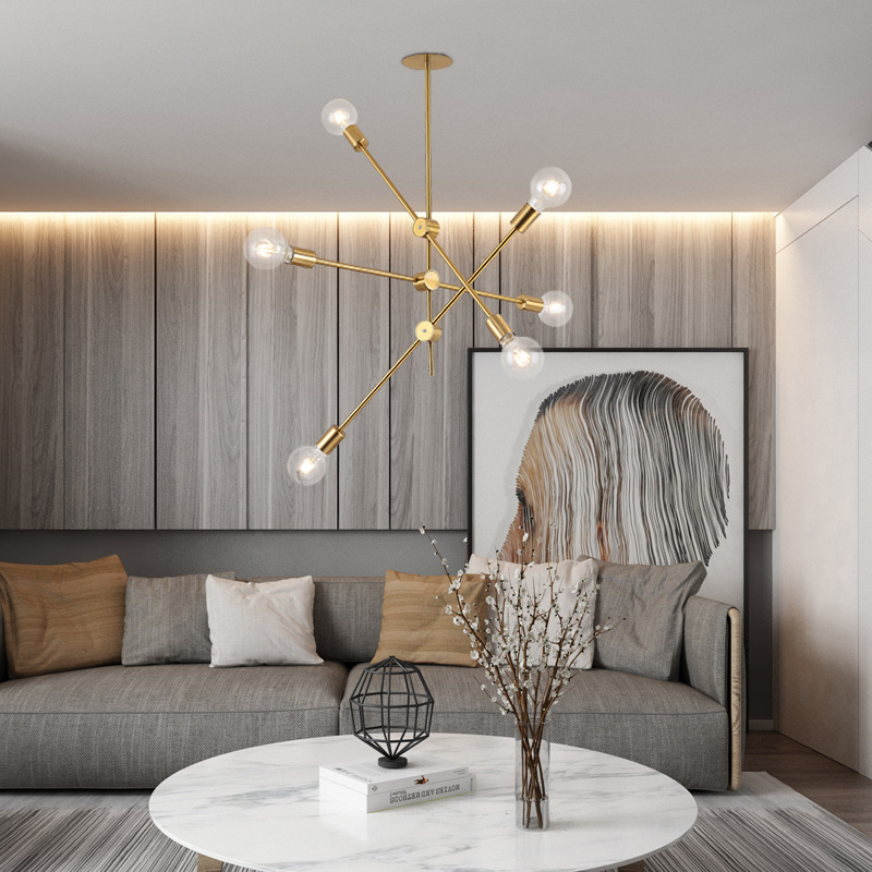 Brushed Brass Metal Sputnik Branch Chandelier Modern Ceiling Lights Nordic Postmodern Style Chandelier Room Lamp
