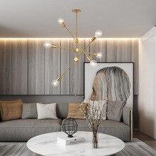 Brushed Brass Metal Sputnik Branch Chandelier Modern Ceiling Lights Nordic Postmodern Style room lamp
