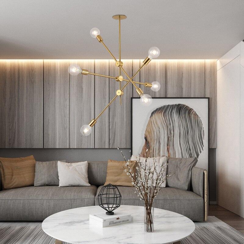 Laiton brossé métal spoutnik branche lustre moderne plafonniers nordique Style postmoderne lustre chambre lampe