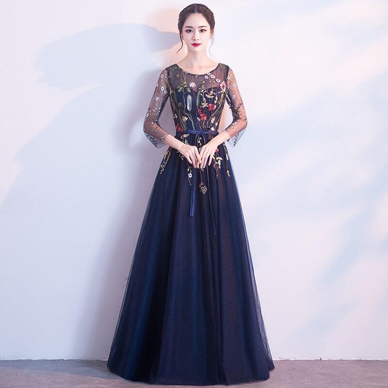 Scoop A Line Appliques Navy Blue Evening Dress Long Prom Party Dresses Evening Gown Formal Dress Women Elegant Robe De Soiree