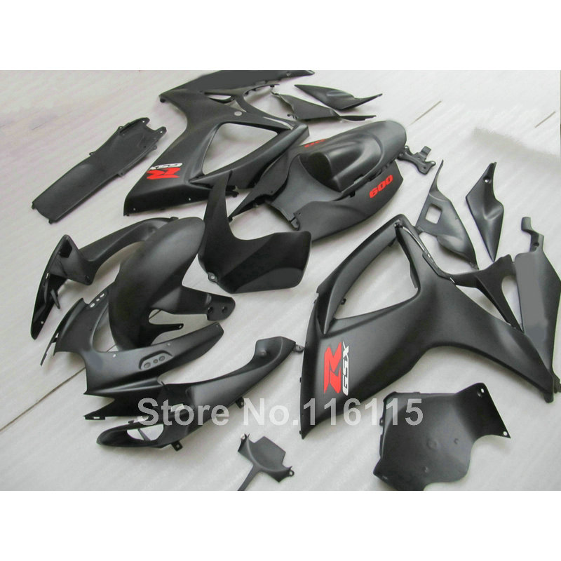 Injection mold Motorcycle fairing kit for SUZUKI GSXR 600 750 K6 K7 2006 2007 all matte black GSXR600 GSXR750 06 07 fairings set new motorcycle ram air intake tube duct for suzuki gsxr600 gsxr750 2006 2007 k6 abs plastic black