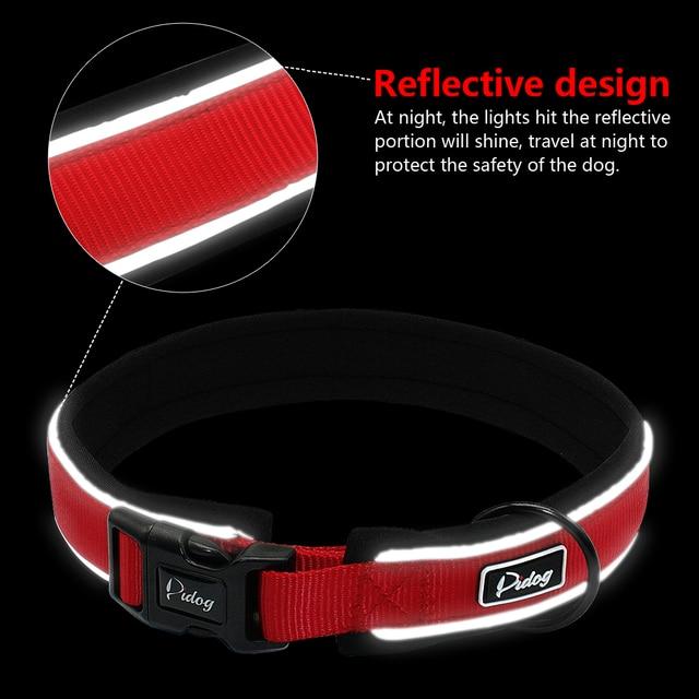 Reflective Dog Collar For Big Large Dogs Nylon Padded Dog Pet Collar Adjustable for French Bulldog Golden Retriever S-XL