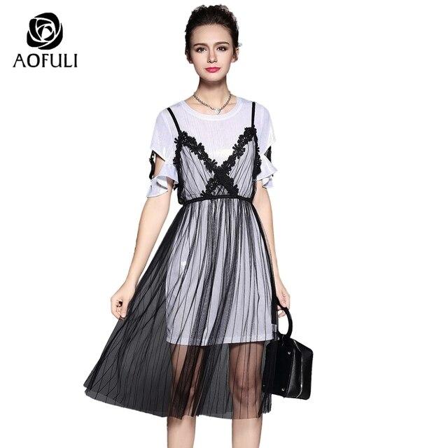 S 5xl Women Summer Mesh Dress Suit Set Flare Sleeve Silky Dress