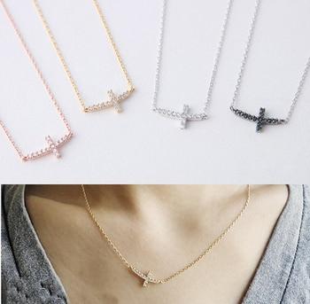 628bd8f155b1 925 mujeres de plata esterlina rodio de alta calidad micro Pave CZ sideway  Cruz colgante collar
