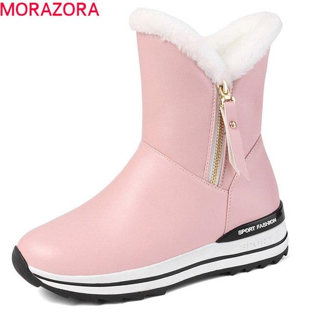 MORAZORA 2020 最新の雪のブーツ女性の暖かいアンクルブーツラウンドトウジップフラットプラットフォーム靴女性の冬のブーツ黒